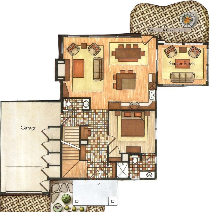 Cottage #1 Floor Plan at Boyd Lodge